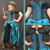 Teal Ruffled Rose Overbust