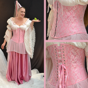 Pink and White Lace Underbust Corset