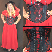 Red and Black Dragon Corset Underbust Corset