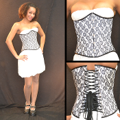 White and Black Lace Underbust Corset