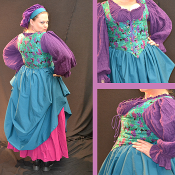 Teal Grape Leave Bodice