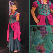 Childerns Teal Grape Leaves Bodice