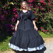 Black Cotton Gauze Heart Dress