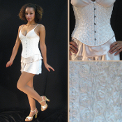 White Ruffled Rose Underbust Corset