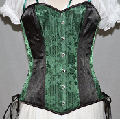 Green Satin Brocade Overbust